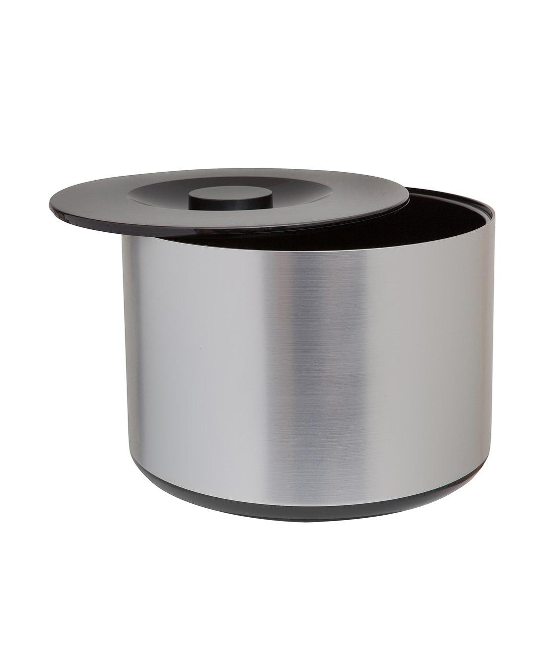 Plastic Ice Bucket Brushed Aluminium Effect Glasslines